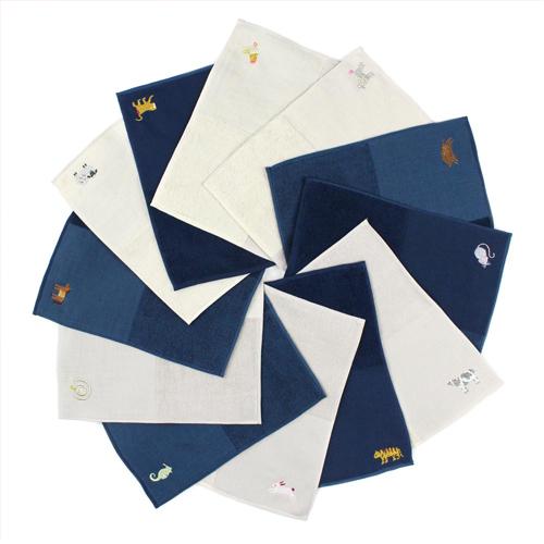 12animals(12アニマルズ)ハンカチ 十二支をモチーフにした刺繍入りハンカチ。